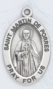 """Sterling silver 7/8"""" oval medal with a 20"""" genuine rhodium plated chain.    Dimensions: 0.9"""" x 0.6"""" (22mm x 14mm) Weight of medal: 1.9 Grams. Comes in a deluxe velour gift box. Engraving option available. Patron Saint of African-Americans,  Inter-Racial Justice, Public Education, Race Relations, Racial Harmony, Social Justice"""