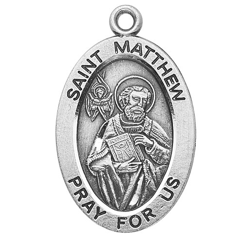 "Patron Saints Accountants, Bankers, Bookkeepers, 7/8"" oval sterling silver medal with a 20"" genuine rhodium plated chain. Comes in a deluxe velour gift box. Engraving option available."