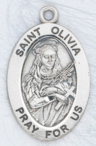 "Patron saint of music ~ 7/8"" oval sterling silver medal with an 18"" genuine rhodium plated chain.  Comes in a deluxe velour gift box. Engraving option available."