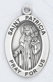 "Patron Saint of Naples ~ 7/8"" oval sterling silver medal with a 20"" genuine rhodium plated chain. Comes in a deluxe velour gift box. Engraving option available."