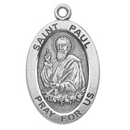 "Patron Saint of Writers ~ 7/8"" sterling silver oval medal with a 20"" genuine rhodium plated chain. Comes in a deluxe velour gift box. Engraving option available."