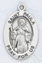 "Patron Saint of Widows ~ 7/8"" sterling silver oval medal with a 20"" genuine rhodium plated chain.  Comes in a deluxe velour gift box. Engraving option available."