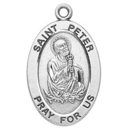 "Patron Saint of Bakers, Bridge builders, Butchers, Fishermen, Harvesters, Locksmiths, Net makers, The Papacy ~ 7/8"" sterling silver oval medal with a 20"" genuine rhodium plated chain.  Comes in a deluxe velour gift box. Engraving option available."