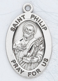 "Patron Saint of Bakers, Pastry Chefs, and Hat-makers ~ 7/8"" oval  sterling silver medal with a 20"" genuine rhodium plated chain. Comes in a deluxe velour gift box. Engraving option available."