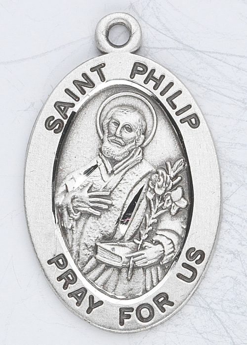 """Patron Saint of Bakers, Pastry Chefs, and Hat-makers ~ 7/8"""" oval  sterling silver medal with a 20"""" genuine rhodium plated chain. Comes in a deluxe velour gift box. Engraving option available."""