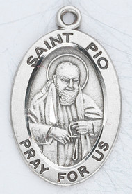 "Patron Saint of Civil Defense Volunteers & Catholic Adolescents ~ 7/8"" sterling silver oval medal with a 20"" genuine rhodium plated chain.  Comes in a deluxe velour gift box. Engraving option available."