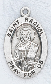 "Patron Saint of Childless Wives & Childbirth ~ 7/8"" oval St. Raphael sterling silver medal with an 20"" genuine rhodium plated chain. Comes in a deluxe velour gift box. Engraving option available."