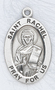 """Patron Saint of Childless Wives & Childbirth ~ 7/8"""" oval St. Raphael sterling silver medal with an 20"""" genuine rhodium plated chain. Comes in a deluxe velour gift box. Engraving option available."""