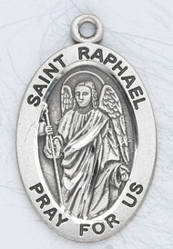 """Patron Saint of Doctors, Nightmares, Mental Illness, Young People, Travelers ~ 7/8"""" sterling silver oval medal with a 20"""" genuine rhodium plated chain.  Dimensions: 0.9"""" x 0.6"""" (22mm x 14mm) Weight of medal: 1.9 Grams. Comes in a deluxe velour gift box. Engraving option available."""