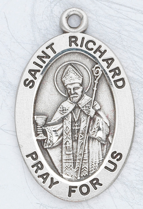 """Patron Saint of Drivers, Delivery Workers. ~ 7/8"""" sterling silver oval medal with an 20"""" genuine rhodium plated chain.  Comes in a deluxe velour gift box. Engraving option available."""