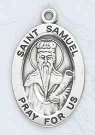 "Patron Saint of Miners ~ Sterling silver 7/8"" oval medal with a 20"" genuine rhodium plated chain. Comes in a deluxe velour gift box. Engraving option available."