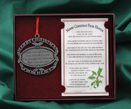 Merry Christmas from Heaven Ornament. Engraving Available for an additional $5.95. MAXIMUM OF 30 LETTERS FOR THE NAME; TWO LINES ONLY. Allow one week to ten days for delivery of engraved ornament. Any engraved orders after the 14th of December will not be guaranteed for Christmas delivery.  Any engraved orders after the 14th of December will not be guaranteed for Christmas delivery.