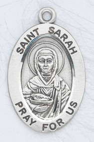 "Patron Saint of Laughter - 7/8"" oval medal with an 18"" genuine rhodium plated chain. Comes in a deluxe velour gift box. Engraving option available."