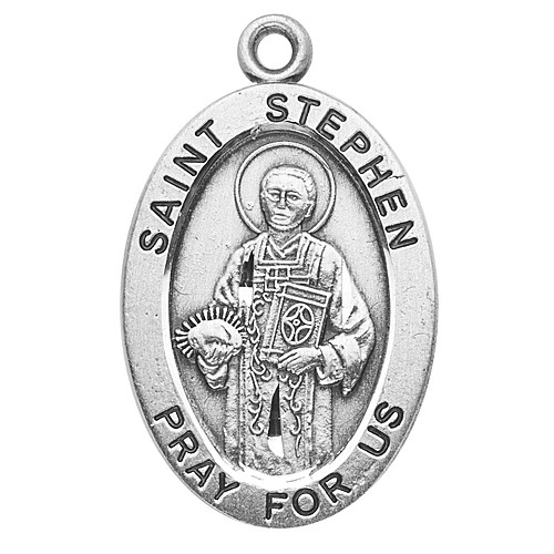 """Patron Saint of Deacons, Equestrians & Coffin Makers. 1st Christian Martyr. Sterling silver 7/8"""" oval medal with a 20"""" genuine rhodium plated chain.  Comes in a deluxe velour gift box. Engraving option available."""