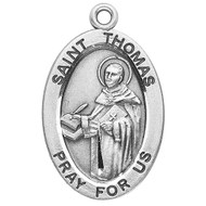 """Patron Saint of Education ~ Sterling silver 7/8"""" oval medal with a 20"""" genuine rhodium plated chain.  Comes in a deluxe velour gift box. Engraving option available. Dimensions: 0.9"""" x 0.6"""" (22mm x 14mm) Weight of medal: 1.9 Grams. Comes in a deluxe velour gift box. Engraving option available."""