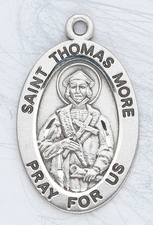 "Patron Saint of Lawyers and Politicians ~ Sterling silver 7/8"" oval medal with a 20"" genuine rhodium plated chain.  Comes in a deluxe velour gift box. Engraving option available."