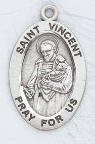"Patron Saint of Charitable Organizations - Sterling silver  7/8"" oval medal with a 20"" genuine rhodium plated chain.  Comes in a deluxe velour gift box. Engraving option available."