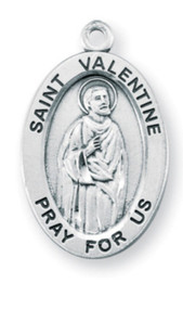 "Patron Saint of Lovers ~ Sterling silver 7/8"" oval medal with a 20"" genuine rhodium plated chain. Comes in a deluxe velour gift box. Engraving option available."
