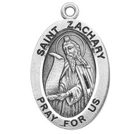"Patron of Peace ~ Sterling silver 7/8"" oval medal with a 20"" genuine rhodium plated chain.  Comes in a deluxe velour gift box. Engraving option available."