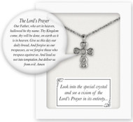 "Cross Pendant with Vision of the Lord's Prayer-Look into the crystal center to see a picture of our Lord's Prayer in its entirety!  13"" Silver Plated with 1.5"" chain extender.  Gift Boxed"