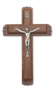 "This 12"" Silver and Walnut crucifix forms the lid for a box with a small vial for holy water and two candles nestled inside. Packaged in a deluxe gift box."