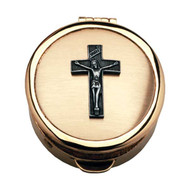 "Polished brass pyx, 12-15 host capacity. 1/2"" deep x 2-1/8"" diameter."