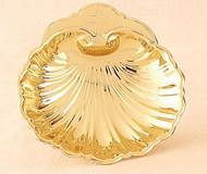 "Baptismal shell. Brass/lacquer. Gold plate is 24KT. 5"" diameter"