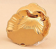"Baptismal shell with finger ring. 5"" diameter. 24KTGold plate/lacquer. Engraving Option"