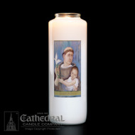 """6-Day Glass Bottle Candle Feast Day is June 13th. We pray to St. Anthony whenever we lose something or misplace a valuable item. We ask for St. Anthony's intercessory prayers and assistance. He has been named a Doctor of the Church; Widely considered as the """"Franciscan Miracle-Worker"""". Also Patron Saint of: Brazil; Fishermen; Amputations; Shipwrecks; Heretics (and those who deny and leave the Catholic faith). Candles can be purchased individually or as a case (12 candles)"""
