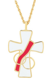 "Deacon's Wife Cross. 1 1/2"" inch long, 24"" chain. Gold plated, white enamel color"