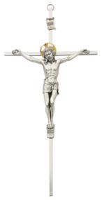 "8"" or 10"" Aluminum Crucifix with Gold Halo.  Packaged in a deluxe gift box"