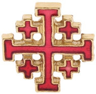 "1/2"" Red enameled Jerusalem Cross Pin."
