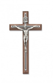 "8"" Walnut crucifix with black overlay.  Packaged in a deluxe gift box."