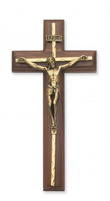 "10"" Walnut Cross with Hammered Brass Overlay.  Gold corpus. Packaged in a deluxe gift box"