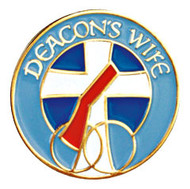 """Deacon's Wife 1"""" Lapel Pin.  Gold plated with enameled color. Deacon's Wife written across the top of pin, wedding rings on bottom of pin. Gift boxed"""