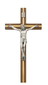 "10"" Beveled Walnut Cross with Gold Cross Inlay with Silver Corpus. Packaged in a deluxe gift box"