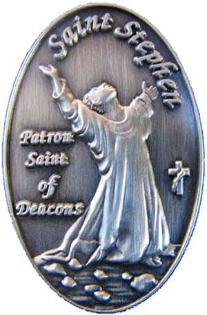 """The """"Patron Saint of Deacons"""" is featured on this detailed 1"""" pin.  Antique silver plated"""
