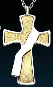 "Two-Toned Deacon's Cross Pendant is Gold and nickel plated. The deacon cross measures 2 1/2"" and comes on a 28"" rhodium plated chain"