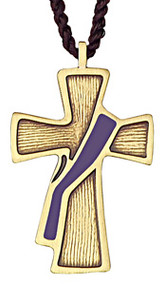 "2 1/2"" Bronze Deacon's Cross with Purple Sash on a brown cord. Appropriate for the folowing occasions:  * Season of Advent * Season of Septuagesima * Season of Lent * Rogation Days * Ember Days (except for Pentecost Ember Days) * Vigils except for Ascension and Pentecost * Good Friday"