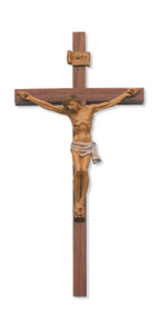 Hand Painted Italian Corpora Crucifix. Walnut Cross in 10, 12, or 24 inches. Packaged in a deluxe gift box