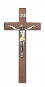 "10"" Walnut Cross with Two-Toned Corpus. Packaged in a deluxe gift box. Ideal wedding or house warming present"