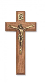 "7"" Walnut Stained Cross with Gold Corpus. Packaged in a deluxe gift box"