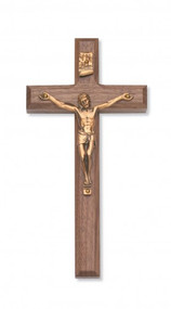 "8""Beveled Walnut Cross with Gold Corpus. Packaged in a deluxe gift box. Ideal wedding or house warming present"