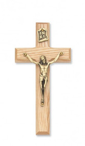 Beveled Oak 6inch Cross with Gold Corpus.  Packaged in a deluxe gift box