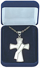"Sterling Silver Deacon's Cross. Measures 1-1/2"" wide x 2"" long. This beautiful emblem exquisitely captured in highly polished sterling silver. Includes a 28"" Rhodium plated chain"