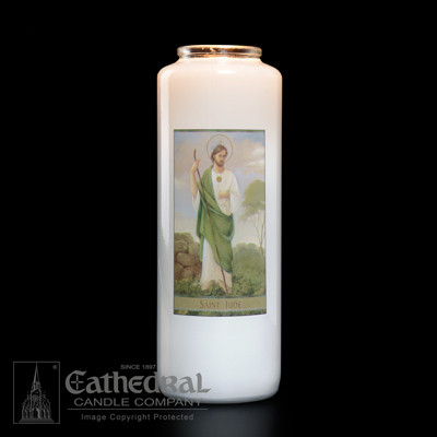 Saint Jude 6 day bottle lite. St. Jude is the Patron Saint of lost causes and of the sick, especially those whose cases seem to be hopeless.  Feast day is October 28th. Candles can be purchased individually or as a case(12 candles).