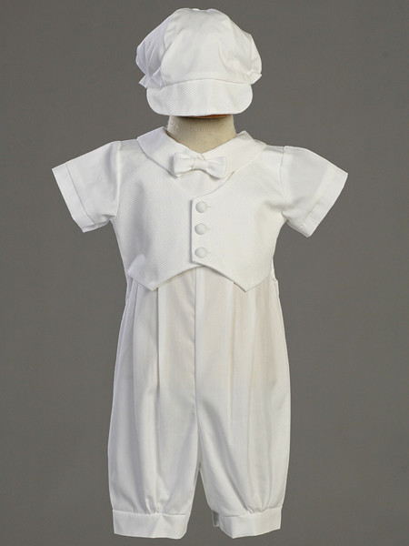 Baby Boys White Cotton Romper Suit Outfit Set Hat Christening Baptism New Dylan