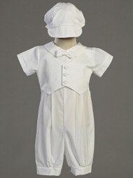 Tyler ~ Cotton Romper with Pique Vest and Hat. Sizes : 0-3m, 3-6m, 6-12m, 12-18m, 18-24m. Made In USA