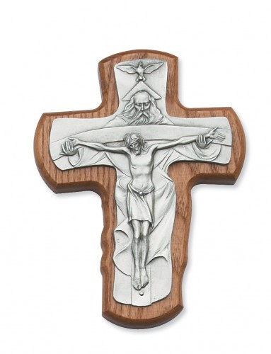 "5.5"" Stained Walnut Trinity Crucifix. Packaged in a deluxe gift box"