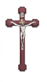 "Cherry Stained Cross, Silver Corpus with Gold Halo Available in 8"" or 10"" height Packaged in a deluxe gift box Ideal wedding or house warming present"